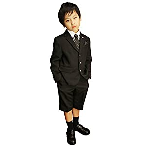 [MICHIKO LONDON(ミチコロンドン)] 入学式 スーツ 子供服 男の子 クレリックシャツのブラックスーツ 6点セット 2471-5420 (130, シャツ:ギンガムチェック)