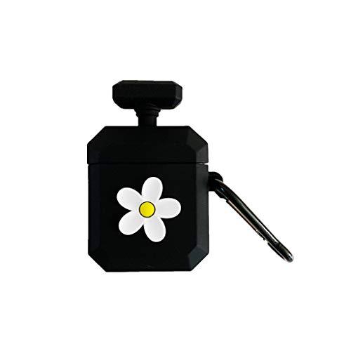 JUNESUN Parfum Fles Patroon Beschermende Case Schokbestendige Zachte Siliconen Cover Huidbeschermer met Karabijnhaak voor Airpods 1/2 Opladen Doos Accessoires