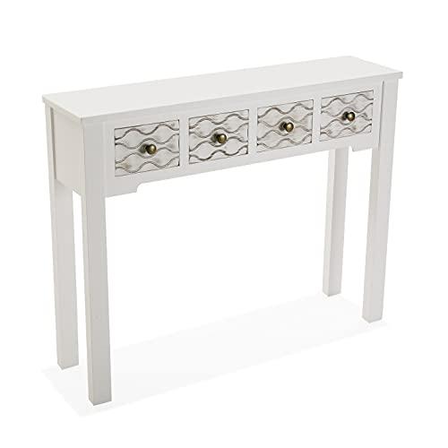 Versa Safira Mueble Recibidor Estrecho para la Entrada o el Pasillo, Mesa Consola, con 4 cajones, Medidas (Al x L x An) 79 x 25 x 97 cm, Madera, Color Blanco y Marrón