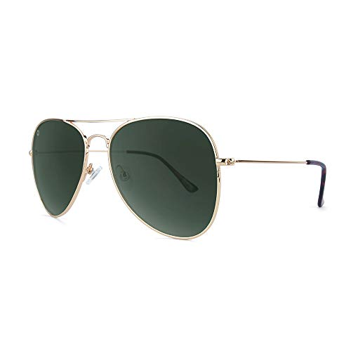 Knockaround Mile Highs Polarized Aviator Sunglasses With Gold Metal Frames/Dark Green Reflective Lenses