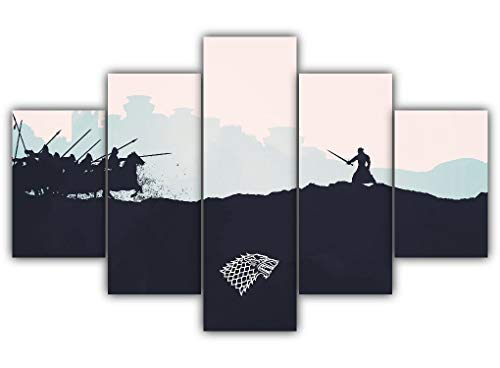 5 Panels The Battle Of Bastards Multi Canvas Art Game Thrones Jon Snow Winterfell Valyrian Steel Protector North Framed Ready To Hang Wall Poster Piece Print Home Decor