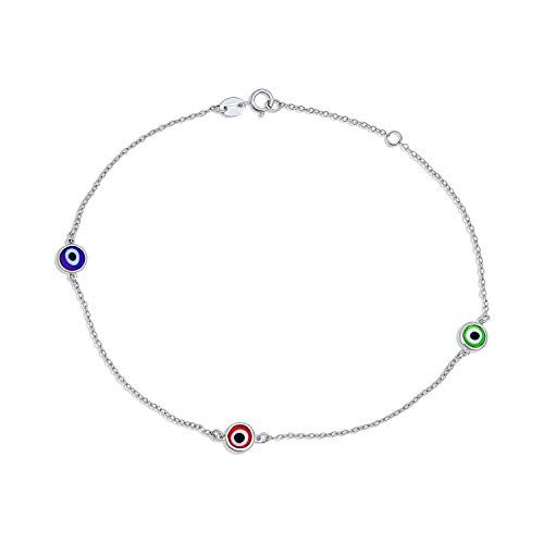Bling Jewelry Minimalist Simple 925 Sterling Silver Evil Eye Chain Anklet...