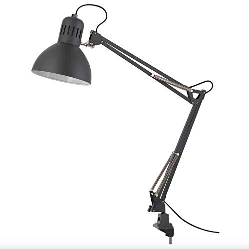 IKEA TERTIAL Work Lamp 32' Adjustable Multi-Joint Spring Swing Arm Clamp Clip On LED Bulb Included (Black)