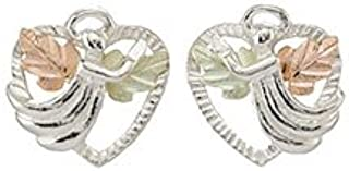 product image for Black Hills Gold Heart Earrings with Angel in Sterling Silver