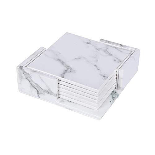 ZT-TTHG 6pcs Decoración de mármol PU Cuero Cuadrado Ronda Bebida Posavasos Mantel Copa Mat Pad Holder vajilla de Cocina Accesorios de Cocina (Color : Square Marble White)