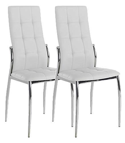 Miroytengo Pack 2 sillas Blancas Comedor Laci Salon cromadas Polipiel Estilo Moderno 101x51x45
