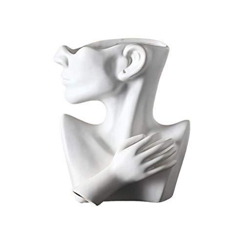 Usmato Creative Half Body Human Face Ceramic Flower Pot Portrait Sculpture Ornament Succulent Character Vase Nordic Face Vase Planter Cement Pot for Living Room Decoration