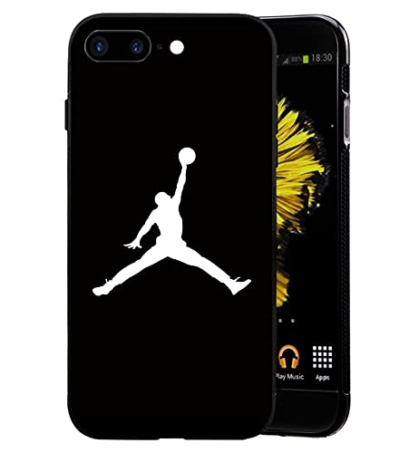 HomeLO AJ Logo iPhone 7 Plus Funda, AJ Logo iPhone 8 Plus Funda, Carcasa Silicona Protector Anti-Choque Ultra-Delgado Anti-arañazos Funda Case Caso para Teléfono iPhone 7Plus/8Plus, Negro