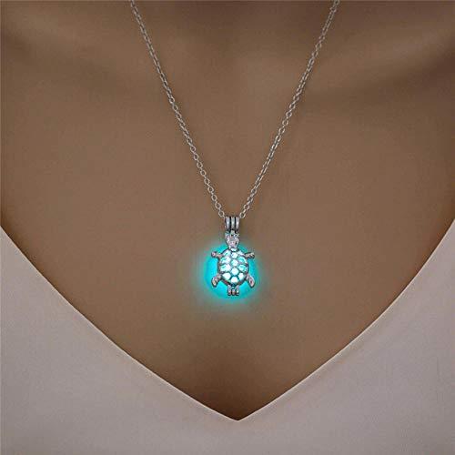 WQZYY&ASDCD Collar De Mujer Collar Brillante En Forma De Luna para Mujer, Joyería Chapada En Plata, Collar De Piedra Luminosa con Encanto De Moda, Regalo-Blue_Green