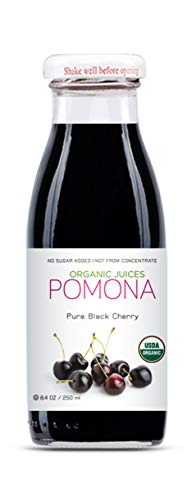 Pomona Organic Pure Black Cherry Juice, 8.4 Ounce Bottle (Pack of 12), Cold Pressed Organic Juice, Non-GMO, No Sugar Added, Not from Concentrate, Gluten Free, Kosher Certified, Preservative Free