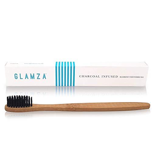 Glamza - Spazzolino da denti in bambù, ideale per essere utilizzato con una polvere di carbone sbiancante o con il vostro dentifricio abituale
