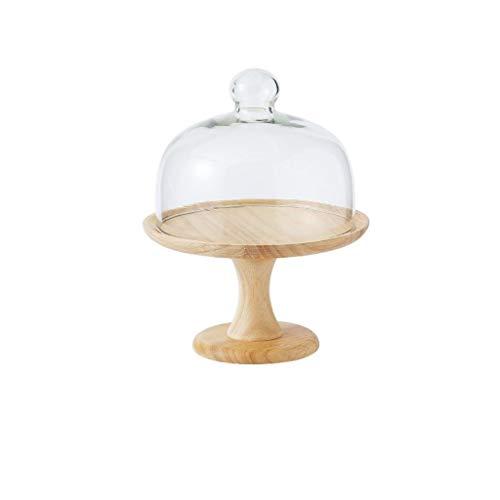 Fruktfat 20,3–26 cm kakställ, bugg bröd serveringsställ glaskoppar western restaurang party dammskydd träpalett hög hållare salladstallrik (storlek: 20,3 x 20,3 x 26 cm)