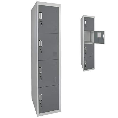 Spind Schließfachschrank Metallschrank Mehrzweckschrank 4 Abteile 180 x 38 x 45 cm ; Grau-Dunkelgrau
