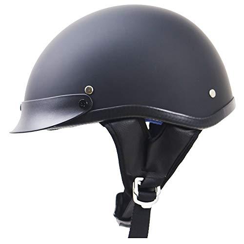 YAUUYA Half Helmet Open Motorcycle Retro Motorcycle Harley Casco Pilot Cruiser Chopper Scooter Bicycle Head Protezione DOT Certificazione Estate Adulto Nero Nero S/M/L/XL