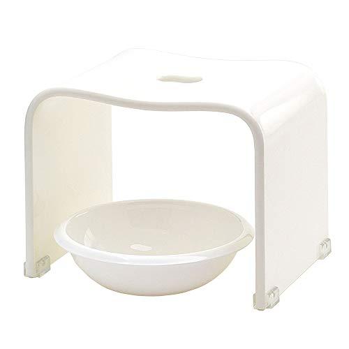 クーアイ(Kuai) アクリル バスチェア&ボウルセット 風呂椅子 洗面器 セット Mサイズ 高さ25cm モダンシリーズ (ホワイト)