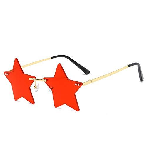 LINLIN Gafas de Sol sin Montura para Mujer, Gafas de Sol de Moda para Hombre, Gafas de Pentagrama con Personalidad, Gafas Transparentes, Gafas de piloto