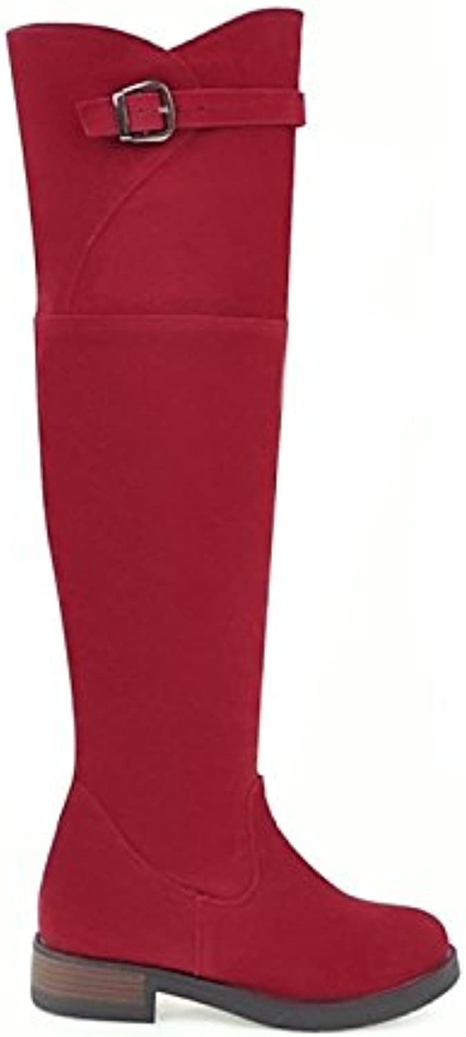 HSXZ Donna Scarpe Nubuck pelle Winter Fashion Fashion Boots Low Heel round Toe Thighhigh Boots Buckle for Casual Dress Black Beige Red