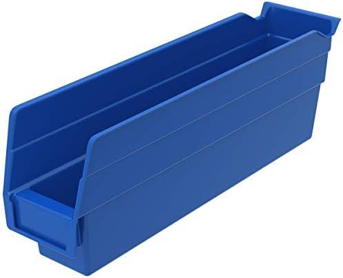 Best Akro-Mils 30110 Plastic Nesting Shelf Bin Box, (12-Inch x 3-Inch x 4-Inch), Blue, (24-Pack)