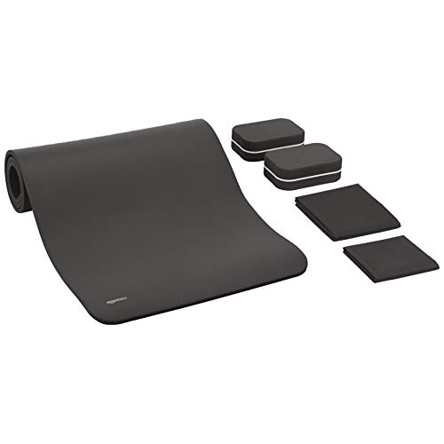 AmazonBasics 1/2-Inch Thick 6-Piece Yoga Set with Mat - Grey