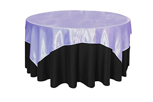 Your Chair Covers - 72 inch Square Satin Table Overlay Lavender, Square Satin Table Cloths