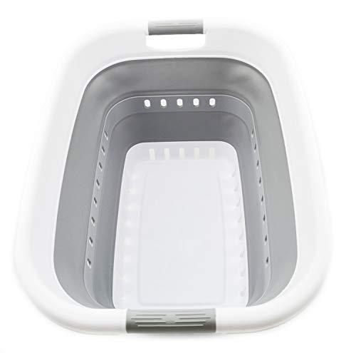 SAMMART Collapsible Plastic Laundry Basket - Foldable Pop Up Storage Container / Organizer - Portable Washing Tub - Space Saving Hamper / Basket (1, White/Grey)
