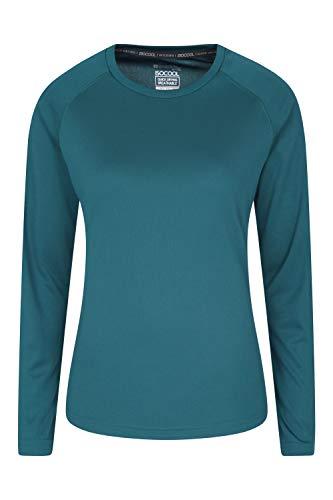 Mountain Warehouse T-Shirt d'été Endurance pour Femme - Léger - Longues Manches - Séchage Rapide - Protection UV - pour Voyages, Course à Pied et Quotidien Vert foncé 34