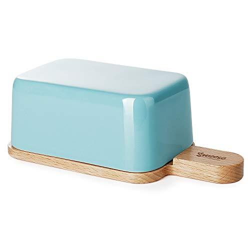 Sweese 323.102 Butterdose Porzellan mit Holzdeckel, für 250 g Butter, Helltükis