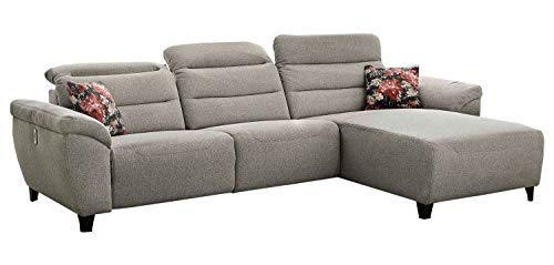 Möbel Jack Polstergarnitur Wohnzimmercouch Wohnlandschaft | Flachgewebe | Beige | 300x180 cm | Elektrische Reclinerfunktion | USB-Anschluss