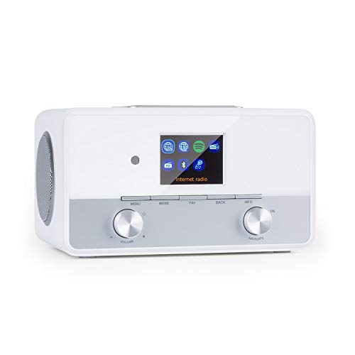 Auna Connect 150 SE - Smart Web Radio 2.1, Dab/Dab+/FM PLL, Mediaplayer, Spotify Connect, Bluetooth, HCC-Display: Display TFT a Colori da 2,8' TFT, App Control Via UNDOK, Bianco
