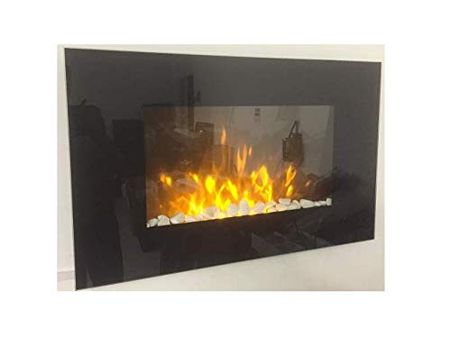 TruFlame 2020 LED Wall Mounted Flat Glass Electric Fire with Pebble and Log Effect and 7 colour side...