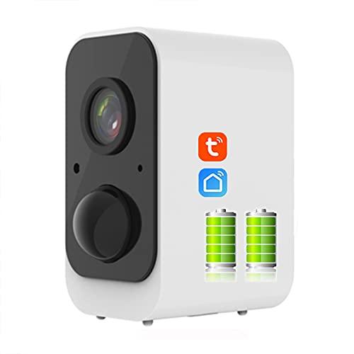 Tuya Smart Life Cámara WIFI inalámbrica de 3MP, cámara IP inteligente a prueba de agua para exteriores, con pilas, visión nocturna, seguridad, vigilancia CCTV,Camera+128g