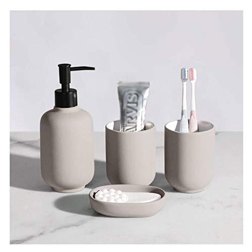 DZX Juego de Accesorios de baño Cerámica Traje de baño Accesorios de baño Soporte para Cepillo de Dientes Jabonera Botella de loción Accesorios de baño Botella de loción Gris (Tamaño: 4 Piezas)
