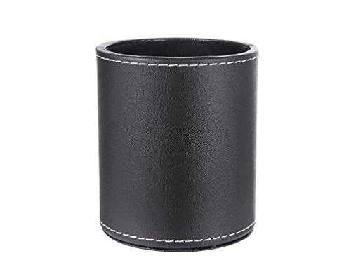 高級 PUレザー 円柱形 ペン立て【 ブラック 】ペンスタンド ぺんたて 卓上収納 オフィス用品 整理整頓 テレワーク おしゃれ