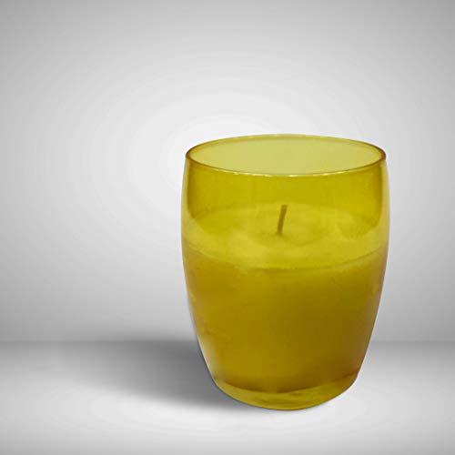 Promol Candle Lindo Conjunto de 10 Velas Amarillas en Vasos Premium