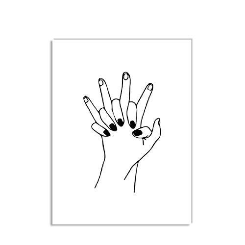 wuzhaodi Línea Chica Flor Cita Arte Feminista Arte de la Pared Lienzo Pintura Carteles e Impresiones de la Pared Cuadros para la Sala de Estar decoración 40x60 cm