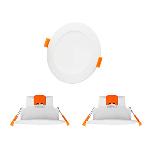 Lamparas Plafones Focos Empotrables de Downlight LED de Techo Regulables 10W Luz Calida y Fria Ajustable 3000K 4000K 5000K 220V-240V Agujero del Techo Φ90-105MM IP44 Lot de 3 de Enuotek