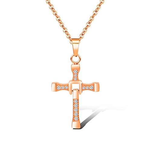 KIMSAI Cadena de clavícula de Acero TitanioPentagrama Femenino con Colgante de Diamantes.Collar de Oro RosaCadena de suéterSimple Collar de EstudianteCollar Regalo,Rosegold