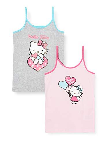 Hello Kitty Mädchen Unterhemden, 2er Pack Camiseta sin Mangas, Multicolor (Rosa/Grau 01), 122/128 para Niñas