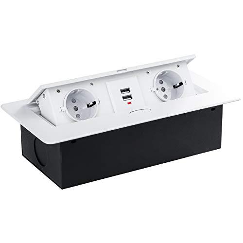Gedotec Einbausteckdose Küche & Schreibtisch - Kombibox | Doppel-Steckdose 2 x Schuco-Stecker + 2-fach USB | Tisch-Steckdose weiß | 1 Stück - Unterbau-Steckdose versenkt mit Soft-Closing Klappdeckel