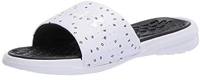 Under Armour Women's Playmaker Micro Slide Sandal, White (100)/White, 9 M US