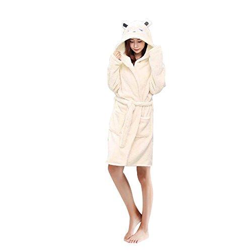 Woneart Damen Bademantel/Morgenmantel mit Kapuze Robe Nachtwäsche Tier Kostüme Pyjama Cosplay (Medium for 157cm-163cm, Fox)