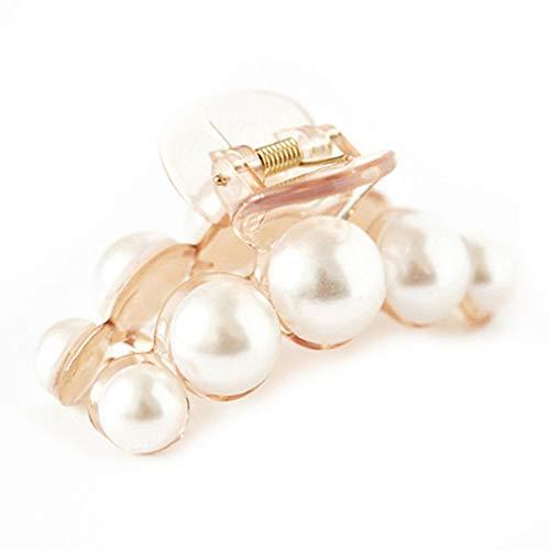 FSMMDM Accesorios para el Cabello Moda Mujer Cangrejo Pelo Garras imitación Perla señora Cabeza Desgaste Accesorios Horquillas plástico elástico Pasador Clip