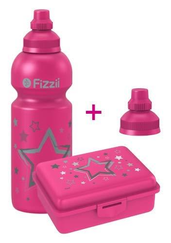 Fizzii Set Trinkflasche 600ml + Lunchbox inkl. Obst-/ Gemüsefach (schadstofffrei, spülmaschinenfest, Motiv: Sterne)