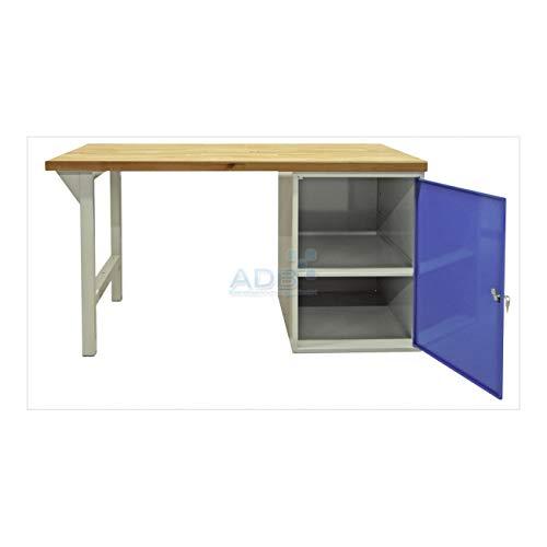 ADB Werkbank mit Stahlblechschrank + Fuß 2000x750x40mm grau Werkstatteinrichtung Zubehör Werkstatt ohne Rollen mit Schubladen