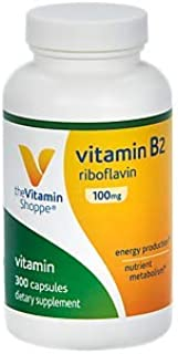 Vitamin B2 (Riboflavin) 100mg Energy Production Nutrient Metabolism Support Supplement, Essential B Vitamin Once Daily, Gluten Free (300 Capsules) by The Vitamin Shoppe