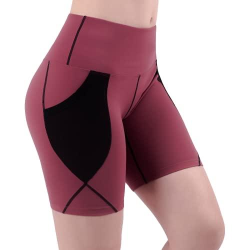 Pantalones cortos para mujer, cintura alta, control de abdomen, de secado rápido, ajustados, sexis, levantamiento de glúteos, entrenamiento, correr, pantalones cortos elásticos para fitness XXL