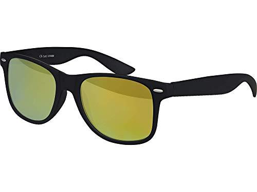 Balinco Hochwertige Nerd Sonnenbrille matte Rubber Retro Vintage Unisex Brille mit Federscharnier - 101 verschiedene Farben/Modelle wählbar (Schwarz - Gelb)