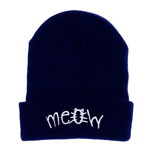Beanie Mütze Damen Herren Winter Knitting Meow Beanie Mütze Snapback Unisex Hiphop Cap Damen Gorras Hombre Wintermütze