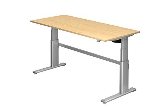 Ergobasis Schreibtisch elektrisch höhenverstellbar 63 bis 128 cm, Sitz-Steh-Tisch Version 2020 mit Arbeitsplatte 180 x 80 cm (Ahorn)