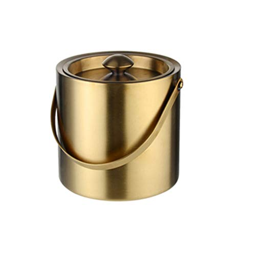 ALXLX Eiskübel Mit Deckel Und Tong Doppel-Wand-Edelstahl-Insulated Ice Cube Bucket Hand Bier Wein EIS Eimer for Partei-Bar Club Home Camping Restaurant (Color : Gold, Size : 2L)
